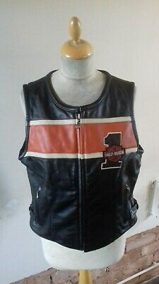 Harley davidson Leather fitted Waistcoat size LW chest 38 Biker