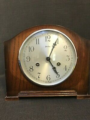 "Vintage Wooden Cased Bentima ""Perivale"" Movement Mantle Clock, Requires Service"