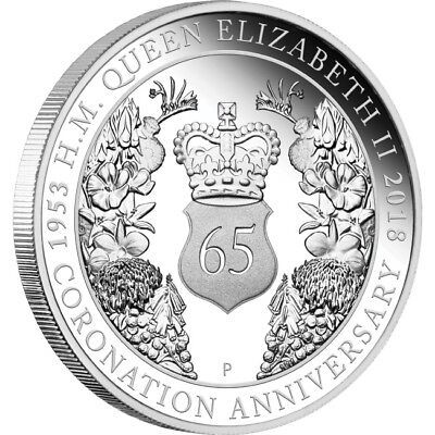 2018 65th Anniversary Of Her Majesty QEII Coronation 1oz Silver Coin