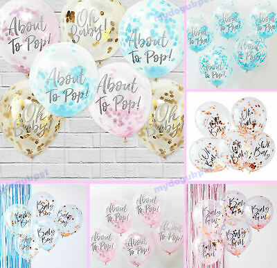 Oh Baby Baby Shower Balloons Blue Pink Gold Confetti Party Decorations x 5