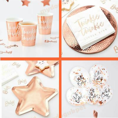 Oh Baby Rose Gold Baby Shower Party Gender Reveal Tableware Twinkle  Star
