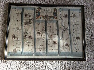 Rare John Ogilby 1698 Road Map Plate 59 Bristol to Worcester