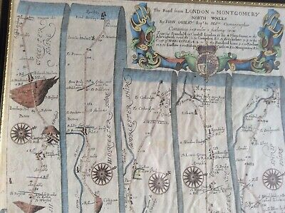 Rare John Ogilby 1698 Road Map Plate 44 London to Montgomery