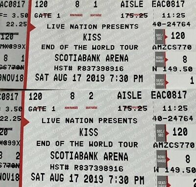 2 Kiss Tickets ScotiaBank Arena Toronto ACC Sec120 Row8 End of the Road tour