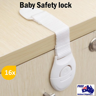 16x Baby Safety Locks Child Proof Cabinets Drawers Appliances Toilet Seat Fridge