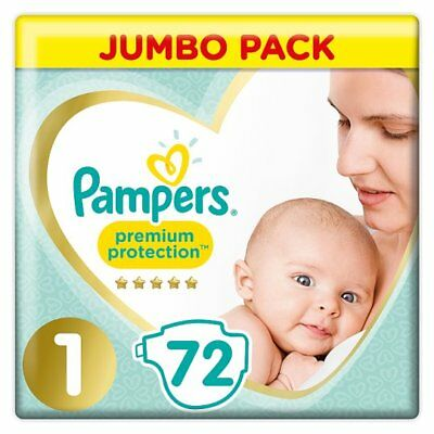 Pampers New Baby Size 1 Jumbo Pack 72 Nappies ~ Premium Protection ~ Free Post