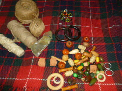 Macrame craft jute rope yarn collection wooden & pottery beads toys eyes etc