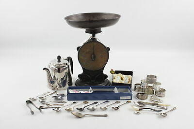 Job Lot of Vintage KITCHENALIA Inc. Salter No.50 Family Scales, Silver Plate Etc
