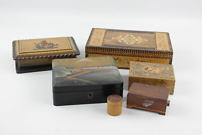 6 x Assorted Vintage WOODEN BOXES Inc. Dog Themed, Ships, Circular Etc