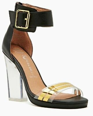 822946e8250 Jeffrey Campbell Nasty Gal Soiree Black Gold Buckle Clear Heel Sandal Shoes  38 5