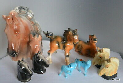 Lot of 9 horse figurines head shakers foals