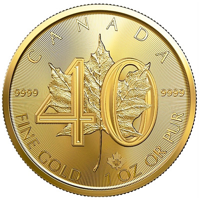 2019 $50 Gold Canadian Maple Leaf 40th Ann. .9999 1 oz Brilliant Uncirculated