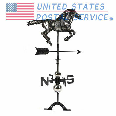 Roof Gallop Horse Weather Vane Handmade 3D Stainless Steel Matte Black USPS
