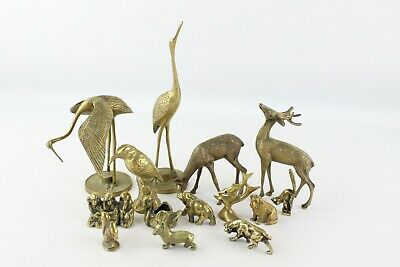 14 x Vintage Decorative BRASS Animals Inc. Birds, Elephant, Dog, Deer Etc 4189g