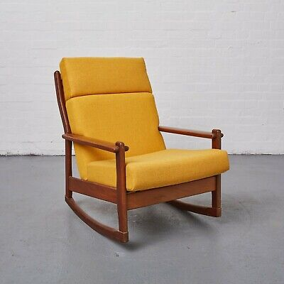 Danish Teak Rocking Chair 50s 60s Vintage Yellow Mid-Century Reloved Upholstery
