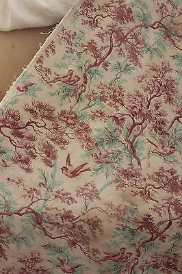 CURTAIN Antique French bird & tree printed twill upholstery cotton drape 1880