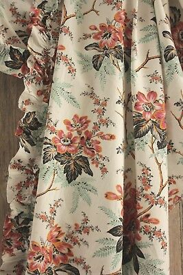 French Fabric Floral antique cotton w/ large scale colorful 1870's design fabric