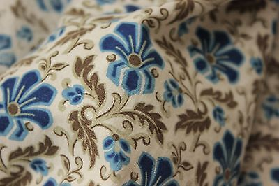 Curtain Antique French large 1870 drape blue & khaki floral design 19th century