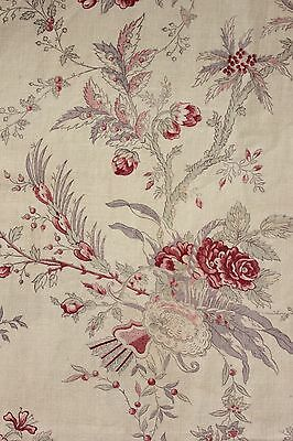 Curtain French printed linen Antique c1930 pink purple & red faded floral drape