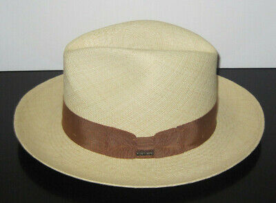 Christys  Of London Genuine Panama Straw Fedora Hat Small New 014673bf4f1