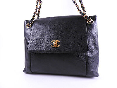 38444d07deb7 Auth CHANEL CC Logo Chain Shoulder Tote Bag Caviar Skin Leather Black Gold  A8475