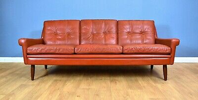 Mid Century Retro Danish Skippers Møbler Red Leather 3 Seat Sofa Settee 1960s