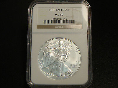 2010 $1 American Silver Eagle 1 oz ounce pure 999 NGC MS69 Superb Gem Unc.