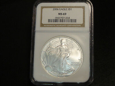 2006 $1 American Silver Eagle 1 oz ounce pure 999 NGC MS69 Superb Gem Unc.