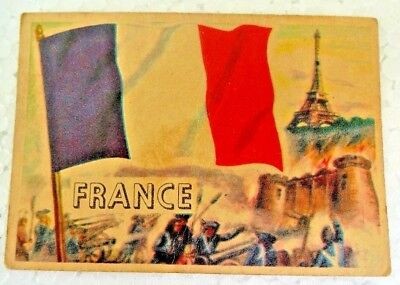 France Vintage 1956 Topps Flags Of The World Printed In England Rare Collectible