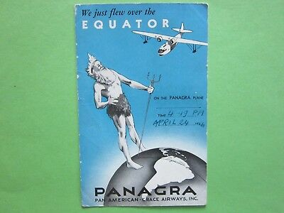 Cp Compagnie Pan American Grace Airways.inc./passage Equateur 24.4.194O.