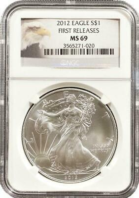 2012 American Silver Eagle NGC MS-69 First Releases Eagle Label