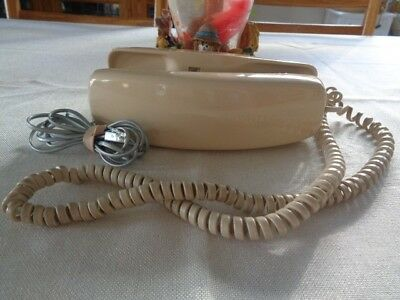 Vintage Trimline Desk Phone Almond Push Button Works Well but Doesn't Ring EUC