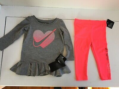 Nike baby girls long sleeve shirt and leggings pants outfit size 18 mos new with