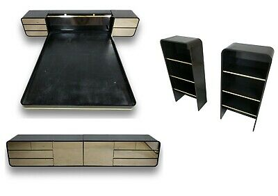 Milo Baughman Style Mid Century Floating Bed, Dresser & Accent shelves