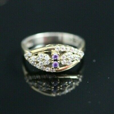 Turkish Handmade Jewelry Sterling Silver 925 Amethyst Ring Size 7,5 MD
