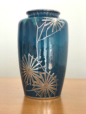 An Art Nouveau Vase with Shreve & Co Silver Overlay