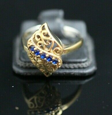 Turkish Handmade Jewelry Sterling Silver 925 Sapphire Ladies Ring Size 9 MD