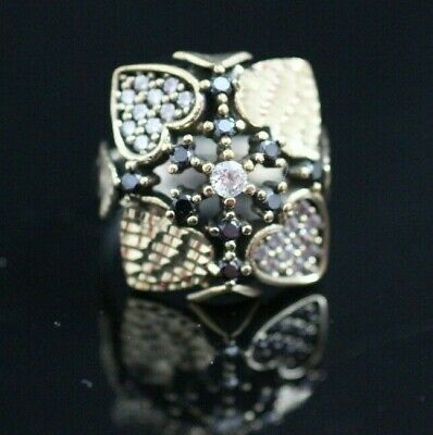 Turkish Handmade Sterling Silver 925 Jewelry Onyx Ladies Ring 8 MD