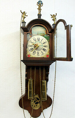 Old Wall Clock Friesian Dutch Schippertje Clock Vintage with Moonphase Warmink