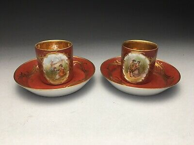 Pair Of Royal Vienna Austria Red Gold Gilded Demitasse Cup & Saucer