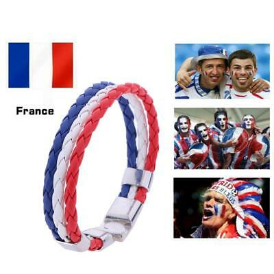 World Cup National Flag Leather Bracelets Weave Braided Wristband/France kit