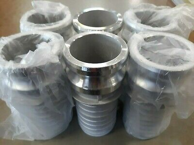 "Lot of SIX 2-1/2"" Male Adapter x Hose Shanks Cam & Groove DynaFlo ALUMINUM"