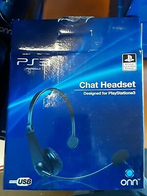 f0291690d9b *5*Playstation 3 PS3 Chat Headset Official Product Certified USB Onn  ONA13MG511