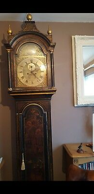 James Green Of London Antique Japanese Lacquered Grandfather Longcase Clock