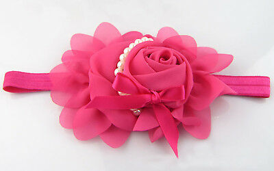 Flower Lace Hairband Soft Elastic Headband Hair Band for baby girl Rose WOW