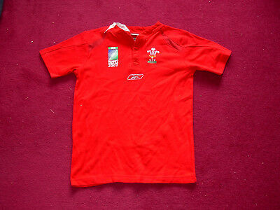 Reebok Wales Home Rugby/World Cup 2007/shirt/top/jersey/child junior large/30-32