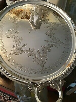 Antique English Silver Plate Oval Tray with Deer Head Center – Hallmarked