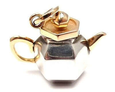"""NEW! POMELLATO """"Teapot"""" 18K YELLOW GOLD + STERLING PENDANT CHARM + BOX/PAPERS"""