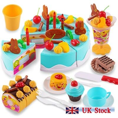 75/38PC Pretend Play Kitchen Food Toy Sets Kids Girls DIY Fruit Cakes Ice Toy