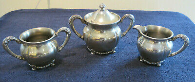 Antique Forbes Silver Co. Quadruple Silverplate Tea Set, Pattern # 201
